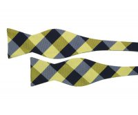 Yellow and Blue Plaid Self Tie Bow Tie