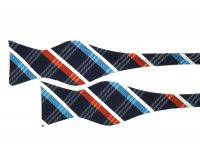 Modern Orange, Blue and White Plaid Self Tie Bow Tie