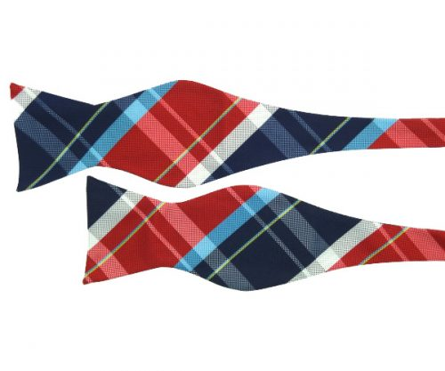 Modern Red and Blue Plaid Self Tie Bow Tie