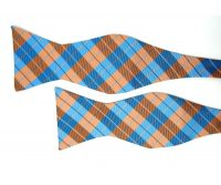 Orange and Blue Check Bow Tie