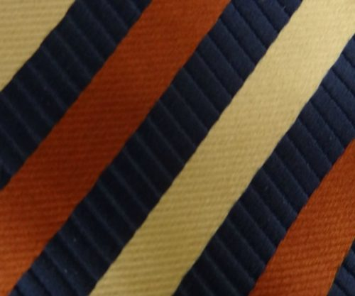Bronze and Navy Stripe Self Tie Bow Tie