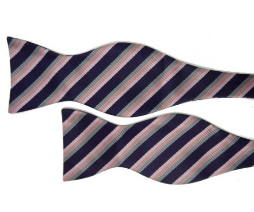 Vintage Pink, Teal and Grape Striped Bow Tie
