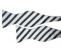 Black Bow Tie with Grey and White Stripe Pattern