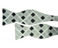 Silver and Black Bow Tie with Diamond Pattern