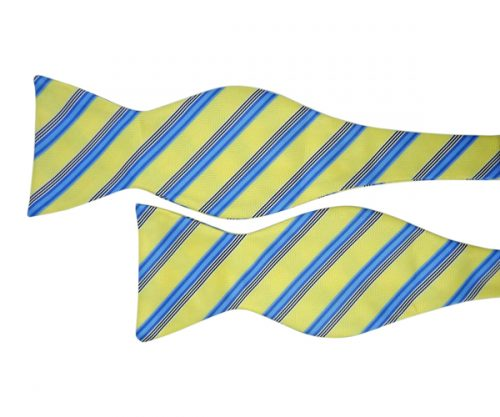 Yellow Self Tie Bow Tie with Blue Stripes