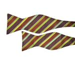 Brown Bow Tie with Green Stripes