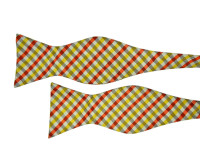 Silver Bow Tie with Yellow and Orange Check