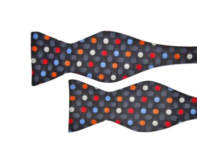 Grey Bow Tie with Polka Dots