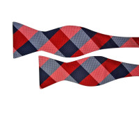 Red and Navy Check Bow Tie