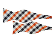 Silver Bow Tie with Orange and Black Check