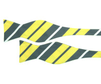 Grey, Yellow and White Stripe Bow Tie