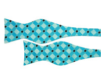 Aqua Blue Patterned Self Tie Bow Tie