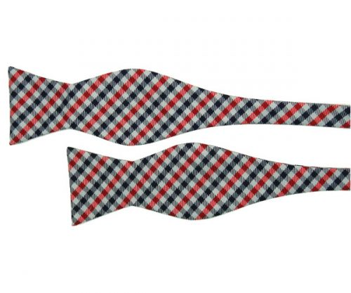 Silver Self Tie Bow Tie with Red and Black Check