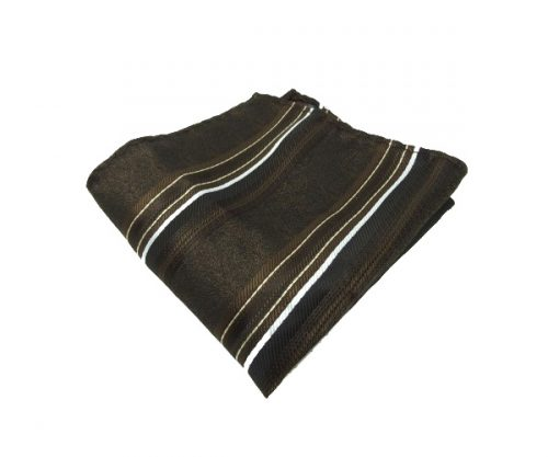 Brown Striped Pocket Square