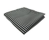 Black and Silver Stripe Pocket Square