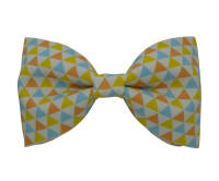 White Blue Orange and Yellow Triangle Patterned Bow Tie
