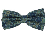 Light Blue with Dark Blue and Yellow Floral Patterned Bow Tie