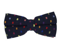 Dark Blue with Colored Squares Patterned Bow Tie