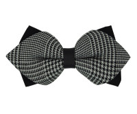 Plain Black and White Patterned Diamond Bow Tie