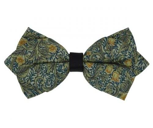 Green Floral Patterned Diamond Bow Tie