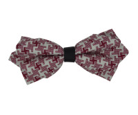 Red and White Patterned Diamond Bow Tie
