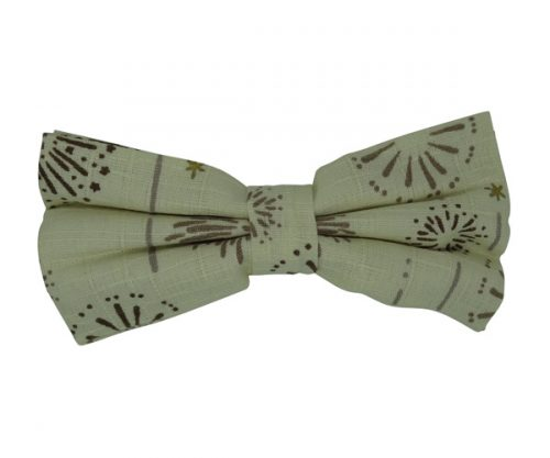 Cream Cotton Bow Tie with Brown Pattern