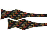 Black with Yellow Orange and Red Zigzag Patterned Bow Tie