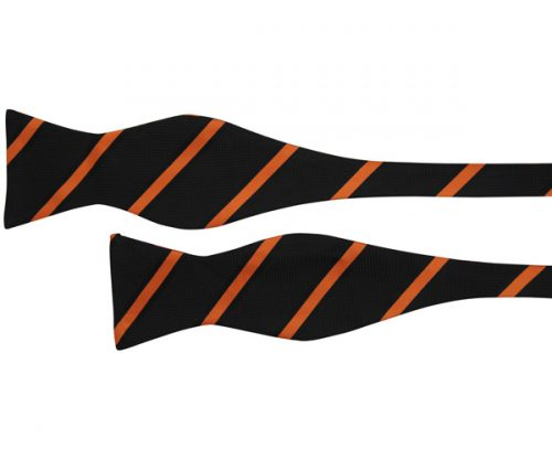 Black with Orange Diagonal Stripes Patterned Bow Tie
