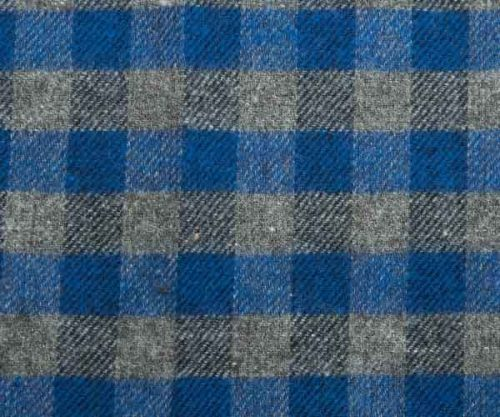 Blue and Grey Plaid Cotton Pocket Square