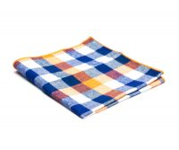 Orange, Blue and White Plaid Cotton Pocket Square
