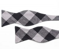 Black and White Plaid Cotton Self Tie Bow Tie