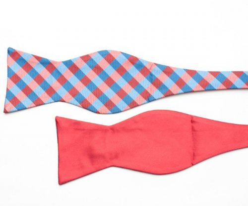 Vivid Red and Blue Double Sided Bow Tie