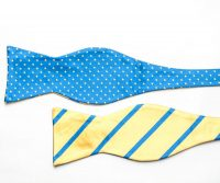 Vivid Blue and Yellow Double Sided Bow Tie