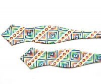 The Aztec Green and Yellow Diamond Point Self Tie Bow Tie