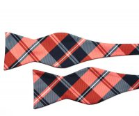 Red and Navy Check Self Tie Bow Tie