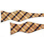 Orange and Navy Check Self Tie Bow Tie