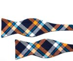 Orange and Blue Plaid Cotton Self Tie Bow Tie