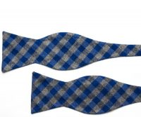 Dark Grey and Blue Plaid Cotton Self Tie Bow Tie