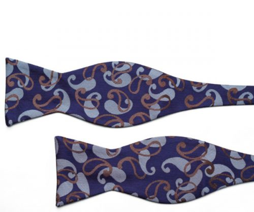 Blue and Gold Paisley Self Tie Bow Tie