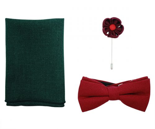 Holly Red Linen Mens Bow Tie Gift Set